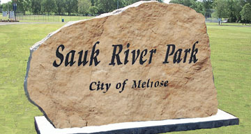 Boulder etched with Sauk River Park, City of Melrose, MN - View Boulders