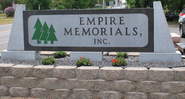 Granite Sign outside of Empire Memorials, Inc. - View Signs