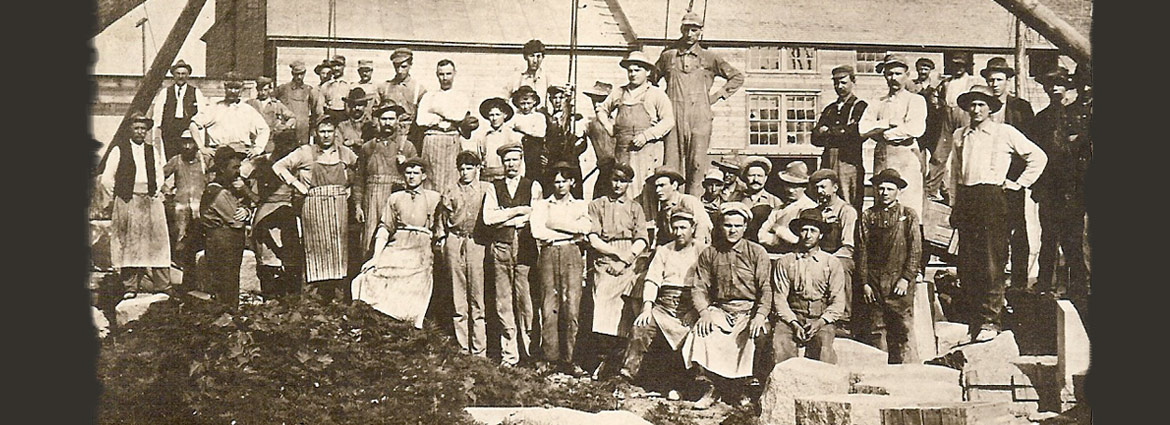 Third slide - Old newspaper photo of the Granite Cutters of Melrose, MN dating back to our early days.